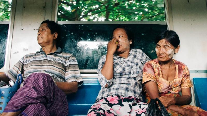 Passengers on Yangon Circle Train