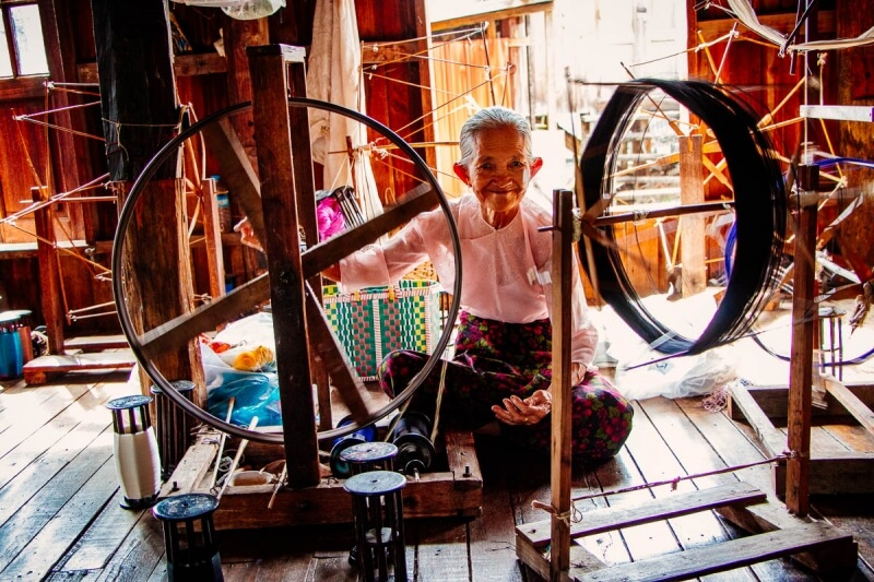 Lady weaving at Inle Lake