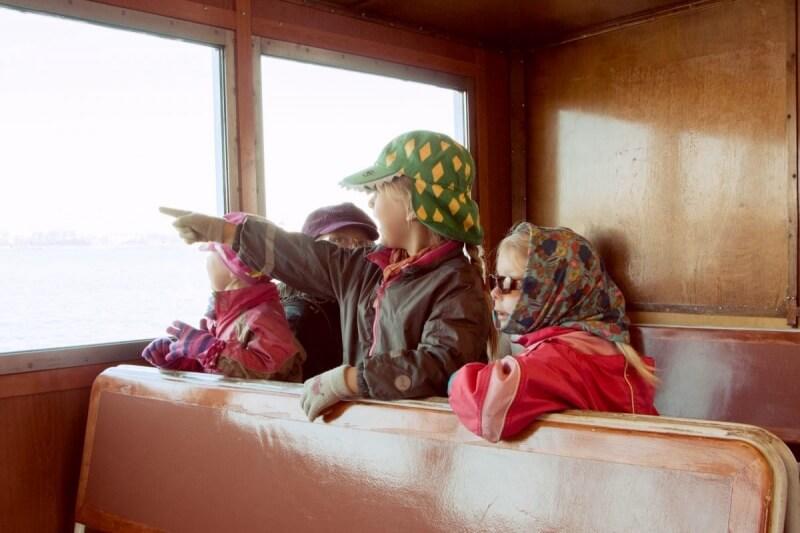 Finnish children on the ferry to Suomenlinna