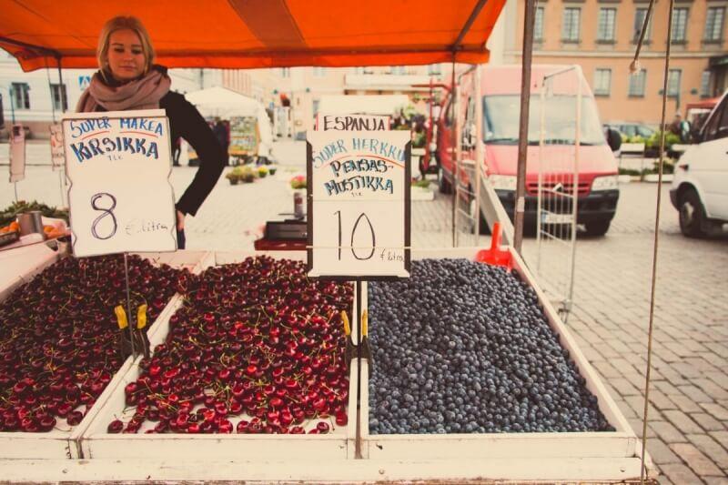 Berries sold at Finnish Market Place - Kauppatori Helsinki