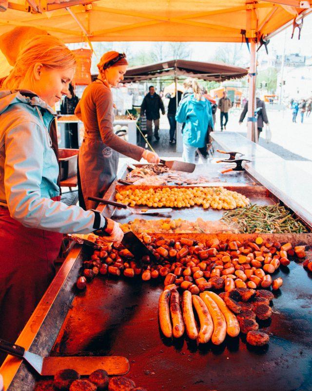 Selling reindeer meat at Kauppatori Helsinki Market