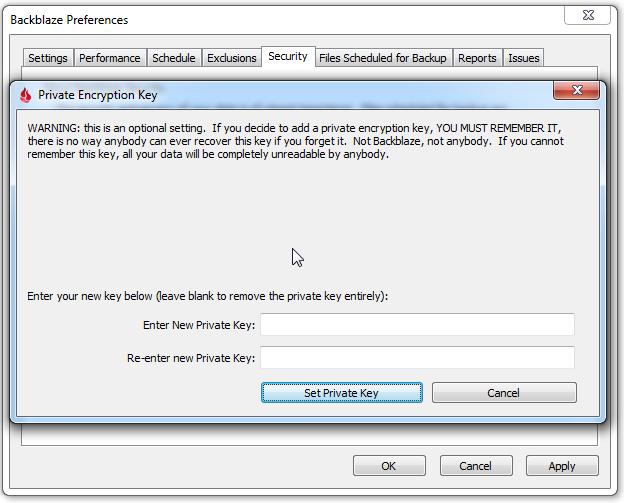 Backblaze Backup encryption password