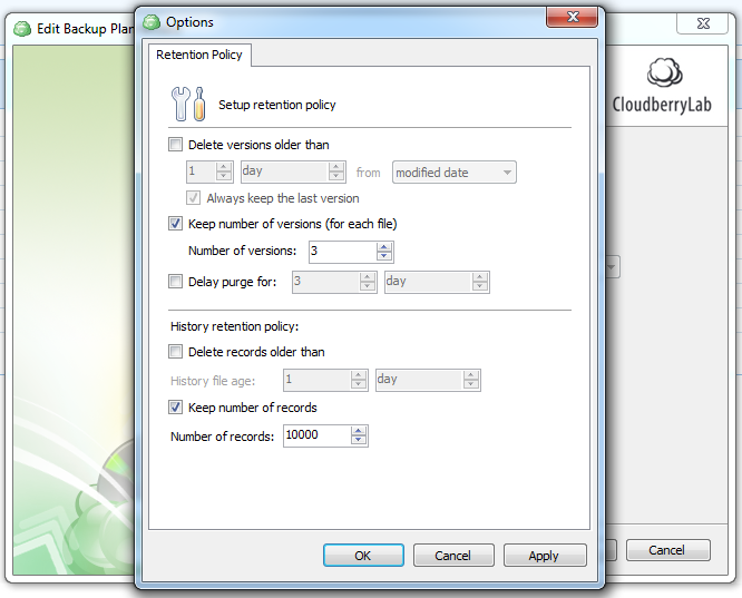 Cloudberry-backup-retention