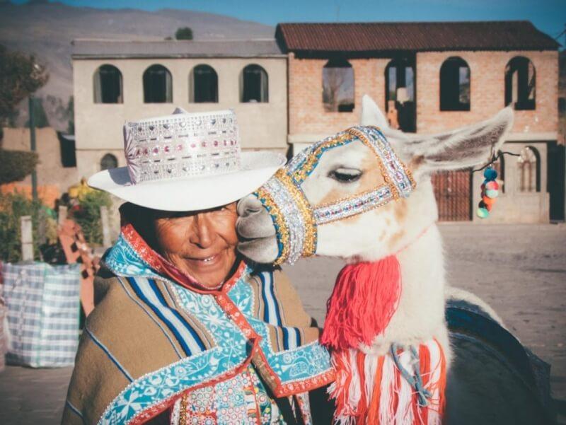 Peruvian lady with llama