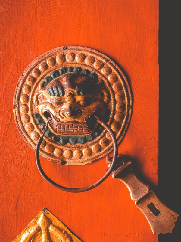 Ornate mongolian door handle
