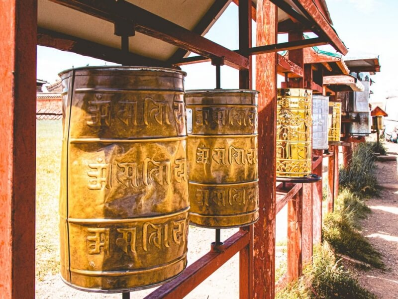 Prayer wheels in Erdene Zuu
